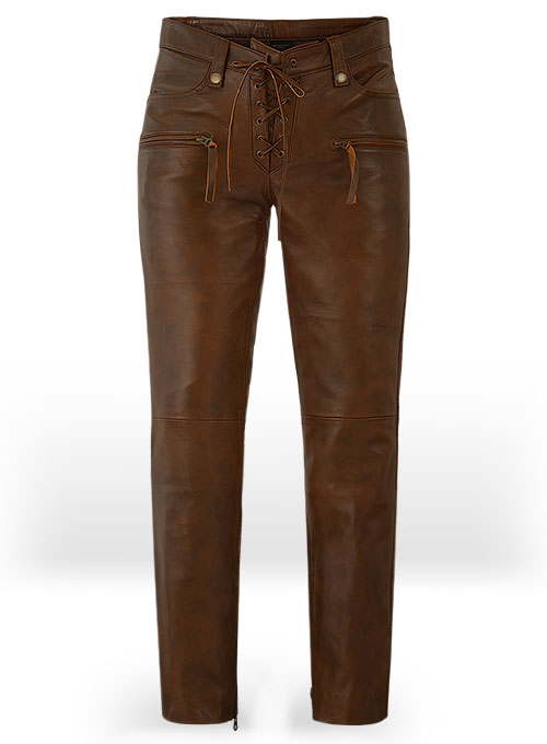 Spanish Brown Gigi Hadid Leather Pants