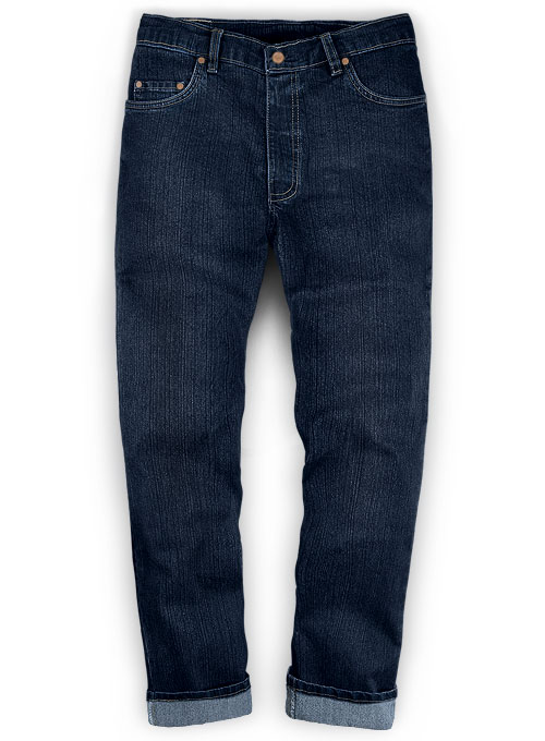 Darker Blue - Stretch Cross Hatch Jeans