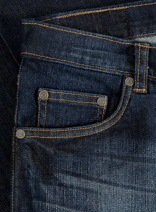 Wangle Blue Hard Wash Whisker Stretch Jeans