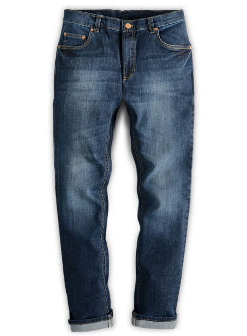 Wangle Blue Indigo Whisker Stretch Jeans