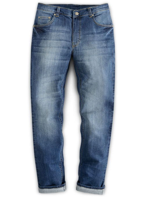 Wangle Blue Stone Wash Whisker Stretch Jeans