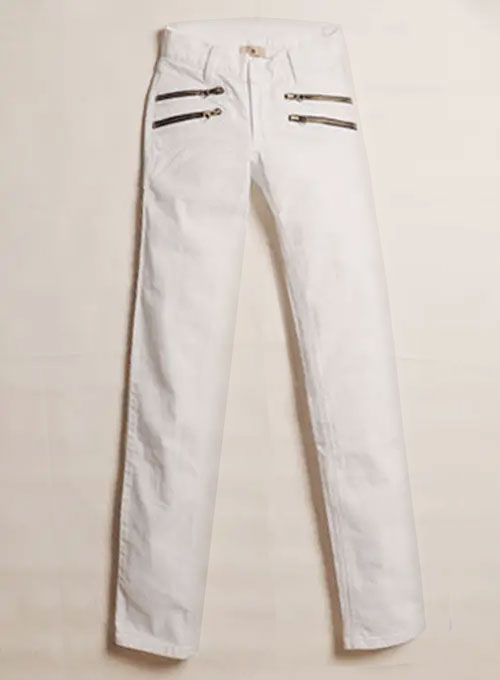 Twiggy Double Zipper White Stretch Jeans
