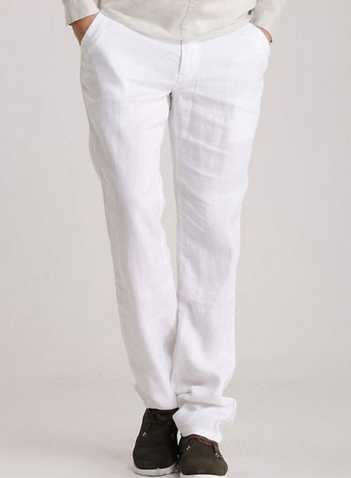 White Linen Pants Makeyourownjeans Made To Measure Custom