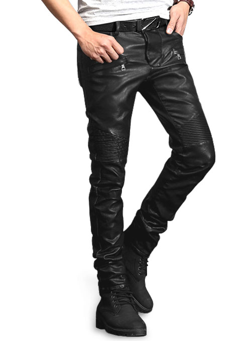 Yonex Black Stretch Vegan Leather Jeans