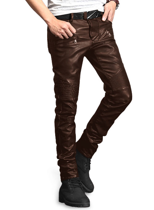 Yonex Brown Stretch Faux Leather Jeans Makeyourownjeans