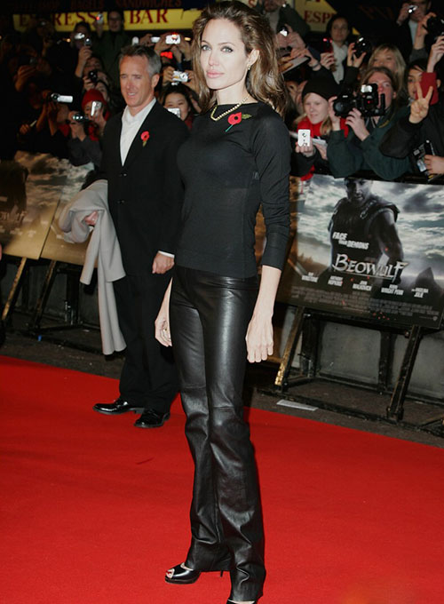 Angelina Jolie Leather Leggings - Click Image to Close