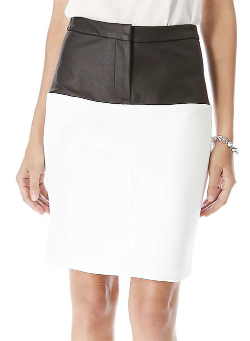Bandage Stripe Leather Skirt - # 195