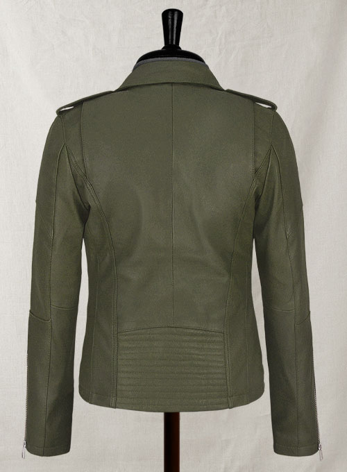 Basicallo Green Rihanna Leather Jacket #1 - Click Image to Close