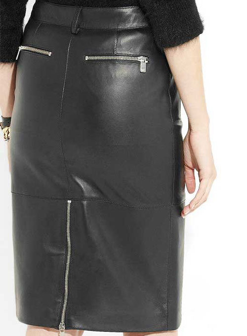 Beckley Zip Detail Leather Skirt - # 402