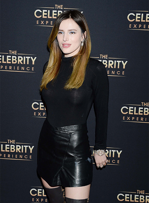 Bella Thorne Leather Skirt