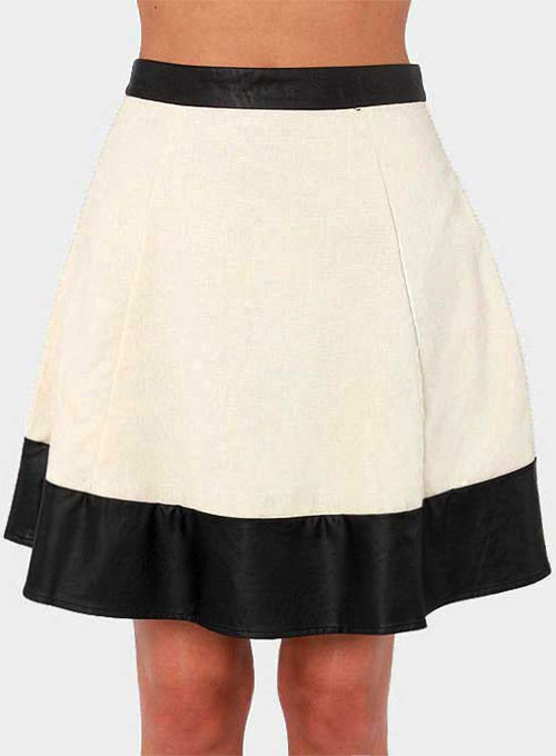 Bi Color Stripe Leather Skirt - # 405 - 35 Colors