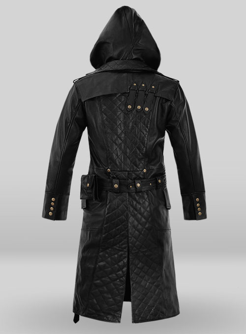 Black Assassin's Creed Jacob Frye Leather Long Coat - Click Image to Close