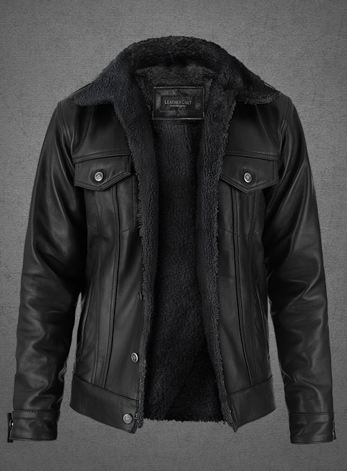 Black Sherpa Leather Jacket