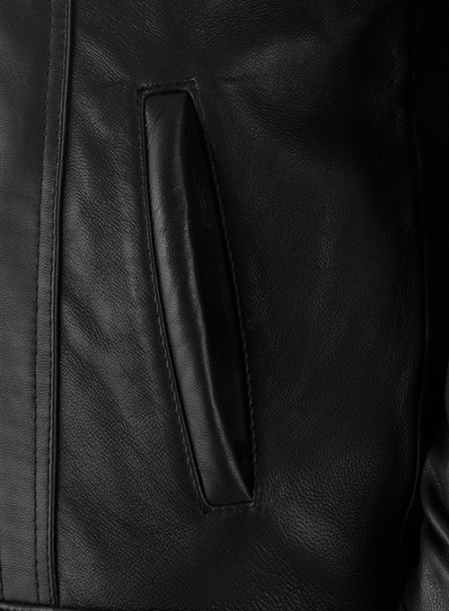 Black Sherpa Leather Jacket - Click Image to Close