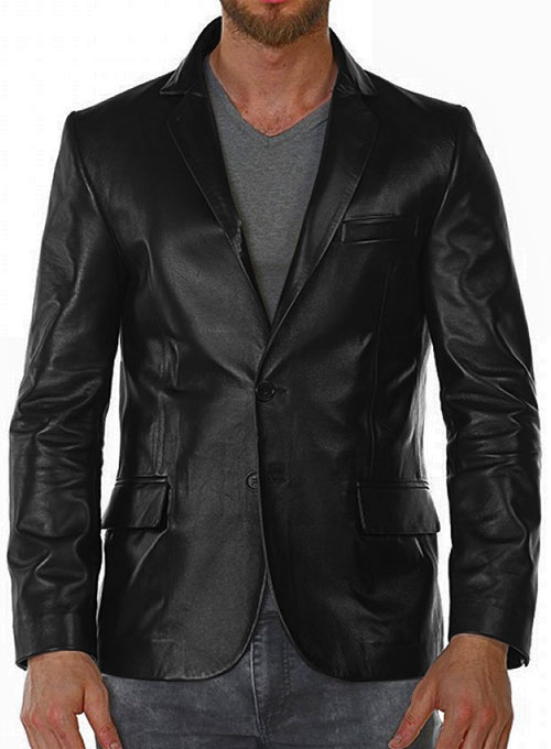Black Stretch Leather Blazer