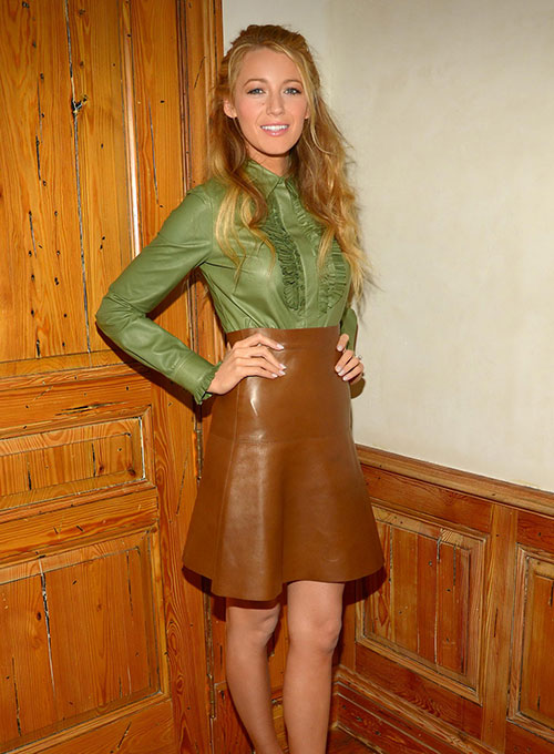 Blake Lively Leather Skirt