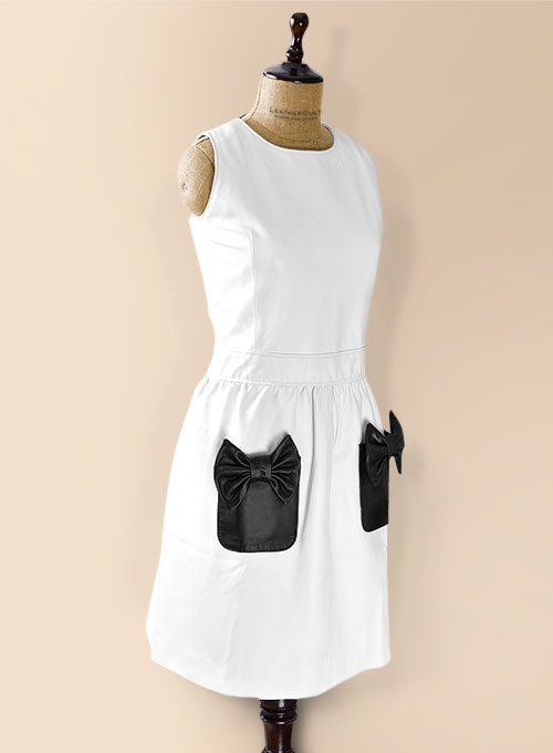 White Bowie Leather Dress - # 753 - Click Image to Close