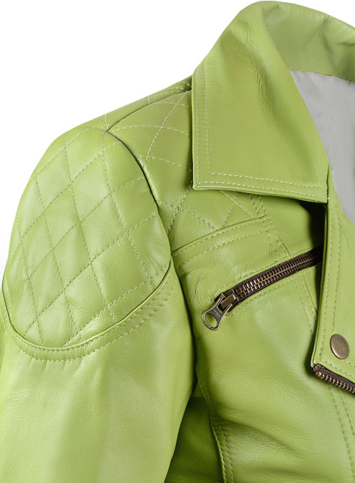 Bright Green Leather Jacket # 263 - Click Image to Close