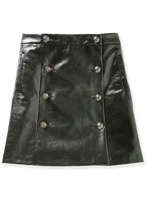 Button Pleat Leather Skirt - # 449 - 50 Colors