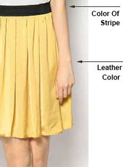 Contrast Waist Leather Skirt - # 180 - 35 Colors