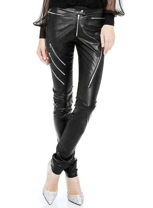 Crazy Zipper Leather Pants