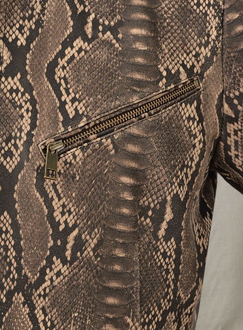 Dark Brown Python Zipper Leather Blazer #3