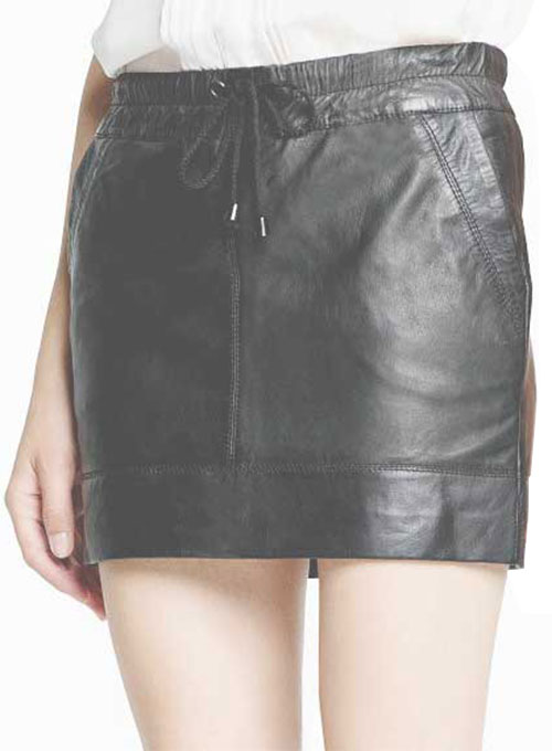 Drawstring Leather Skirt - # 421