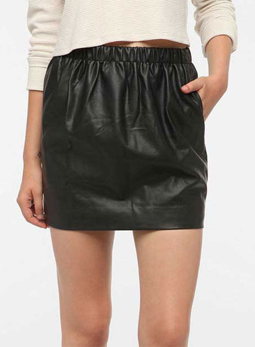 Leather Skirt With Elastic Waist