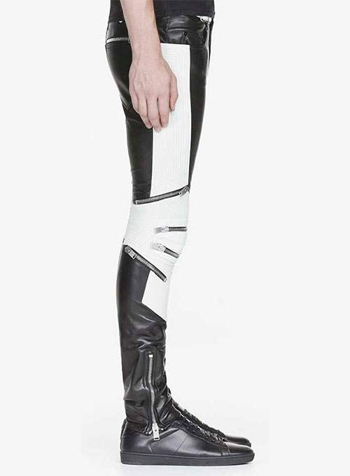 Electric Zipper Combination Leather Pants
