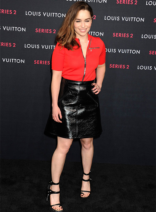 Emilia Clarke Leather Skirt