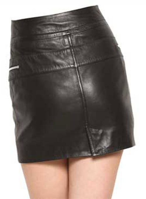 Front Zipper Leather Mini Skirt - # 143