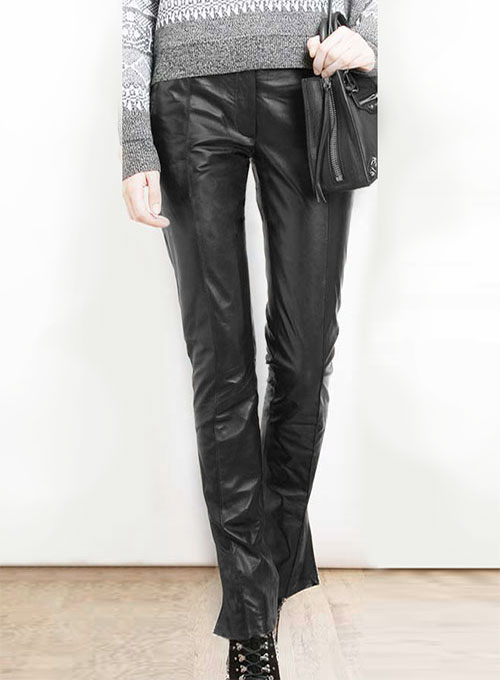Front Crease Leather Pants - Click Image to Close
