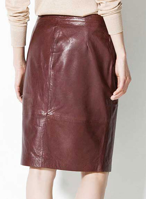 Front Panelled Leather Skirt - # 170 - 50 Colors