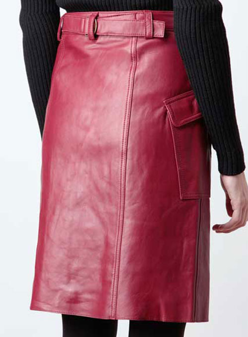 Front Pocket Leather Skirt - # 147 - 50 Colors