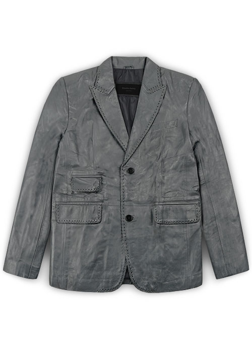 Gray Medieval Leather Blazer