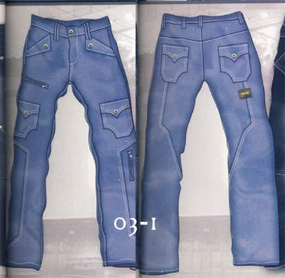 Leather Cargo Jeans - Style 03-1- 50 Colors