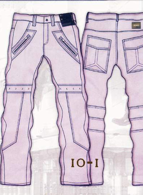 Leather  Cargo Jeans - Style 10-1