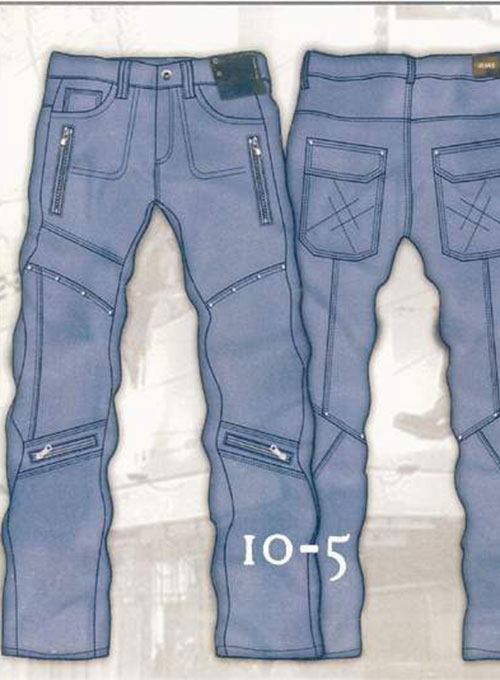 Leather  Cargo Jeans - Style 10-5