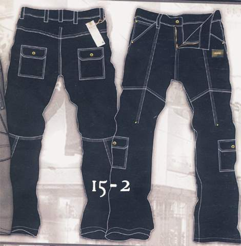 Leather  Cargo Jeans - Style 15-2
