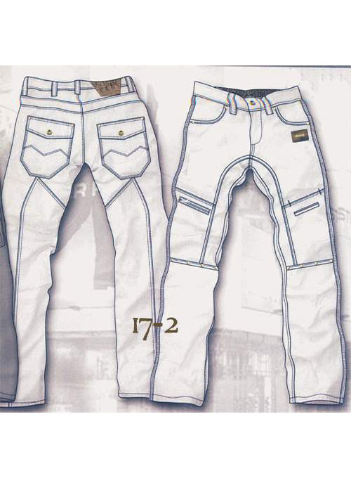 Leather  Cargo Jeans - Style 17-2