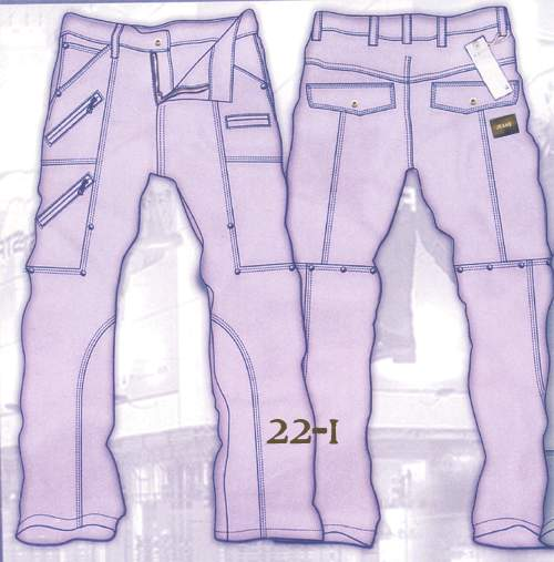Leather  Cargo Jeans - Style 22-1- 50 Colors