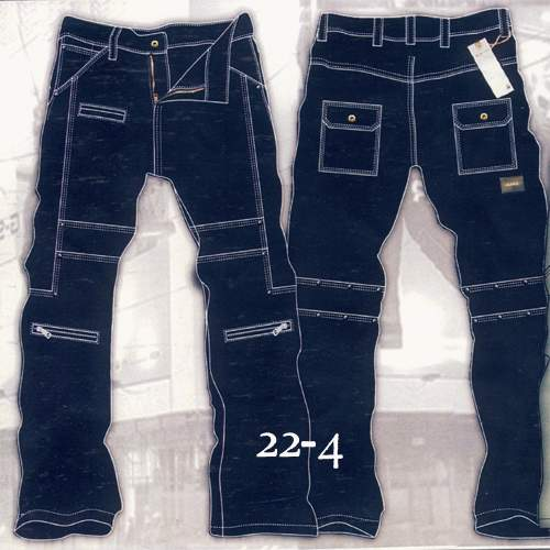 Leather  Cargo Jeans - Style 22-4- 50 Colors