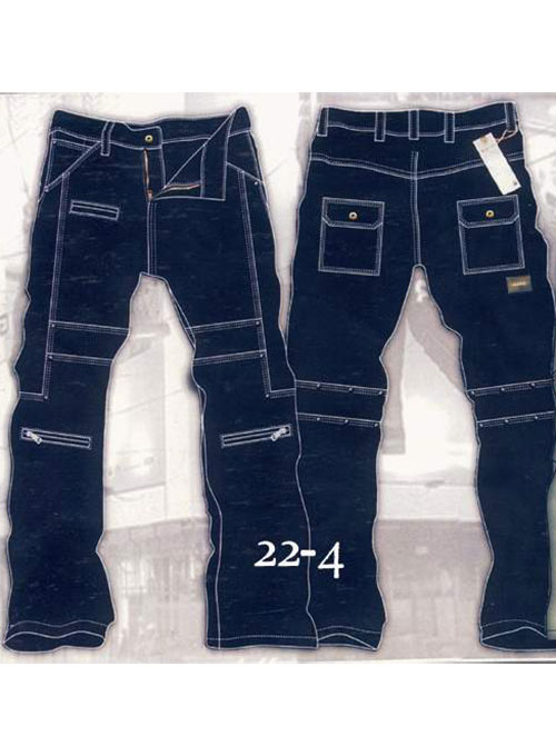 Leather  Cargo Jeans - Style 22-4
