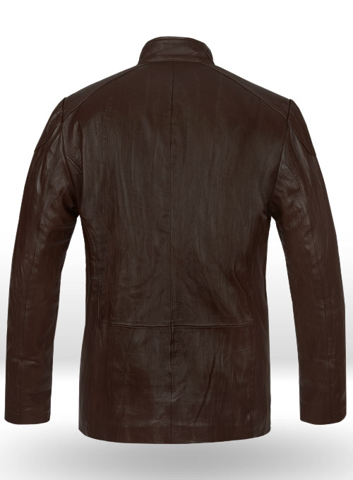 Wrinkled Brown Hugh Jackman Real Steel Leather Jacket - Click Image to Close
