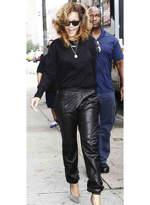 Rihanna Leather Joggers Replica