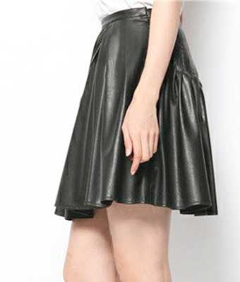 Kick Pleat Flare Leather Skirt - # 450 - 50 Colors