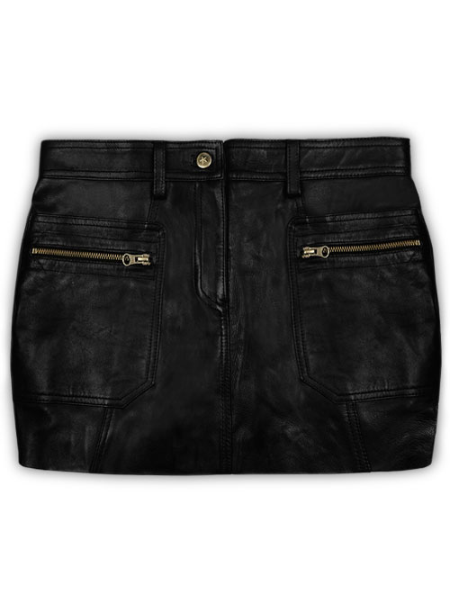 leather mini skirt with pockets leather mini skirt with