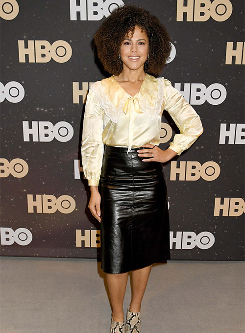 Lenora Crichlow Leather Skirt