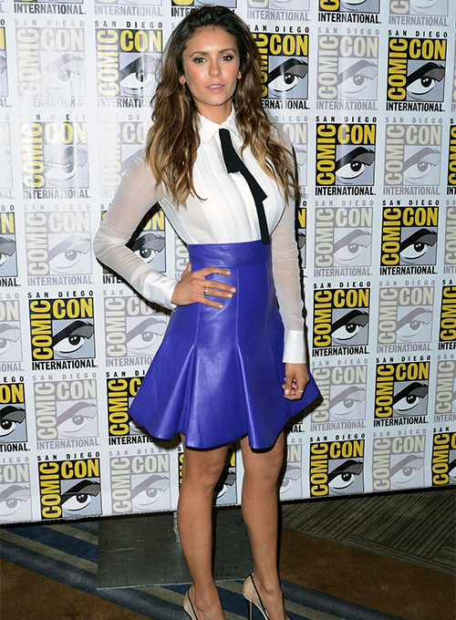 Nina Dobrev Leather Skirt - Click Image to Close