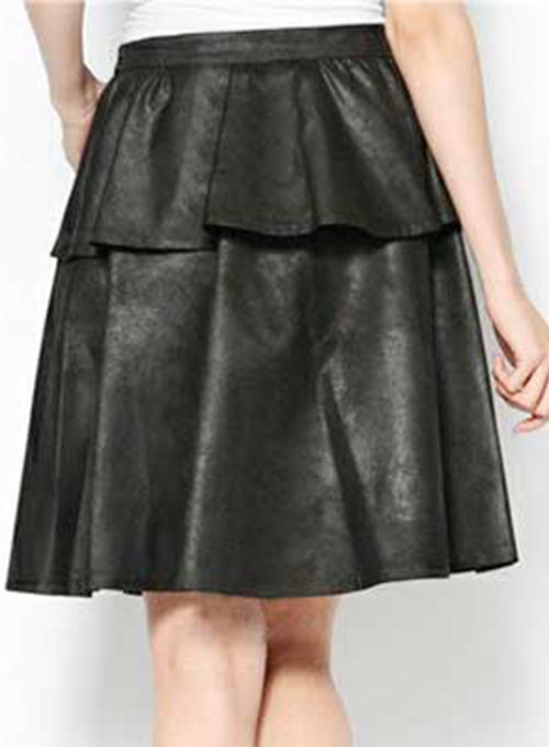 Peplum Flare Leather Skirt - # 415 - 50 Colors